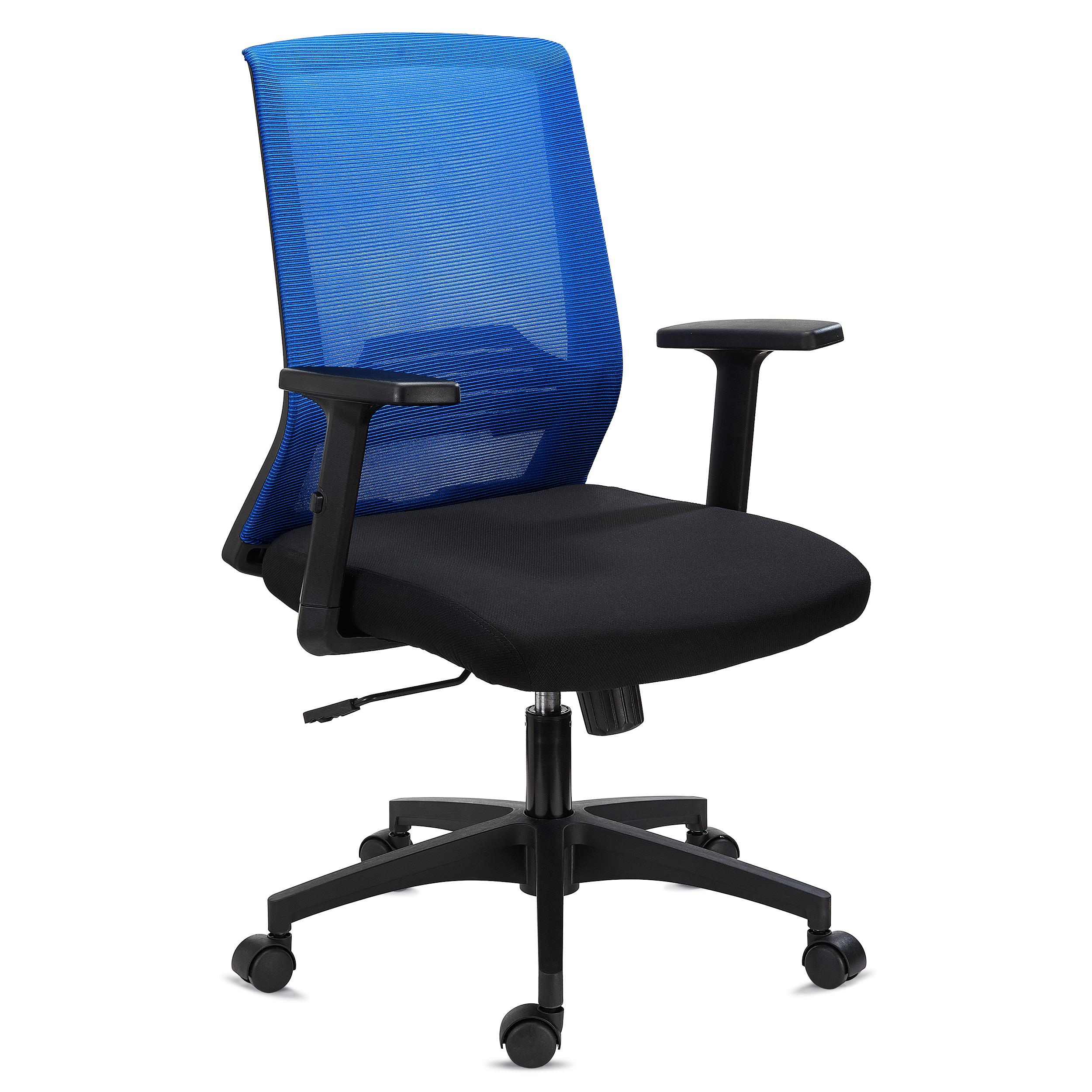 DEMO# Chaise de Bureau MIAMI, Support Lombaire, Accoudoirs Ajustables, Confortable et Robuste, Bleu