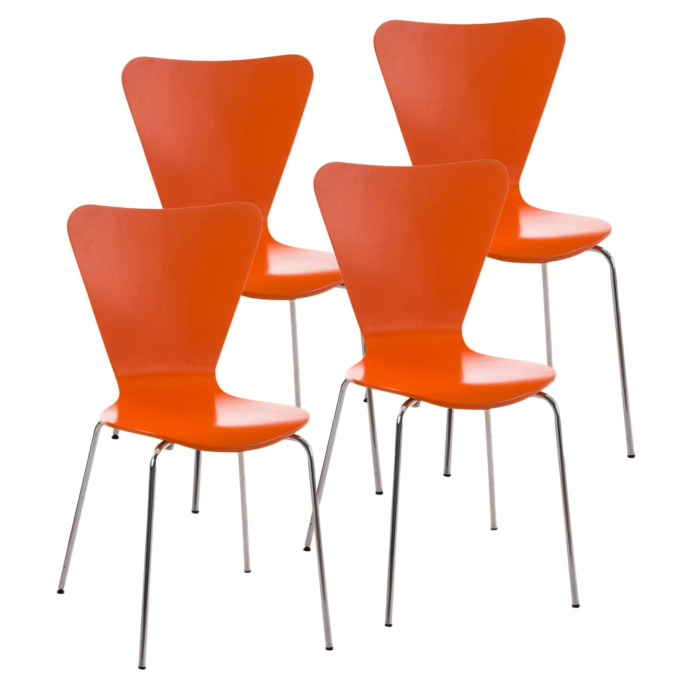 Lot de 4 Chaises visiteur HERCULE, Structure Métallique, Empilables, Orange