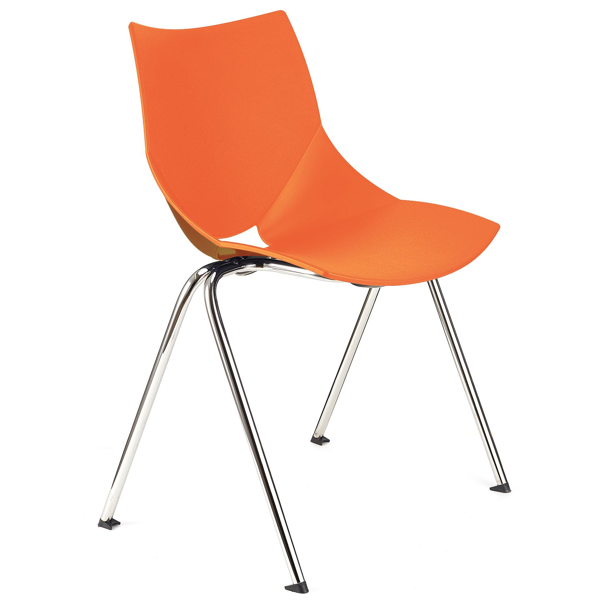 Chaise de réunion AMIR, Commode et Pratique, Empilable, Orange