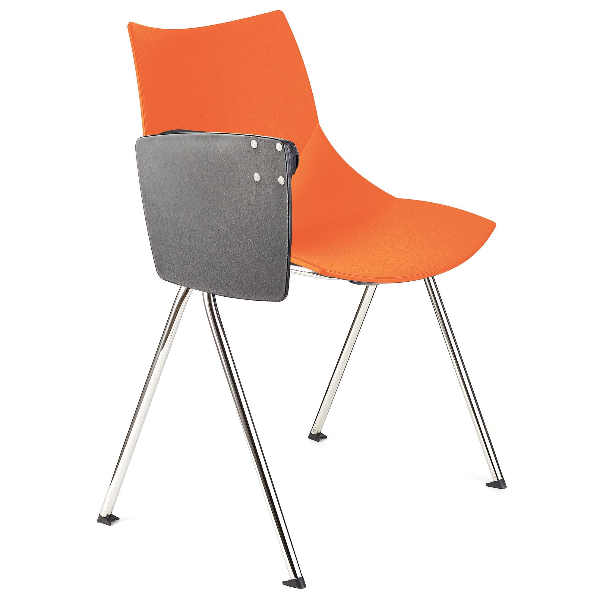 Chaise de réunion AMIR AVEC TABLETTE, Commode et Pratique, Orange