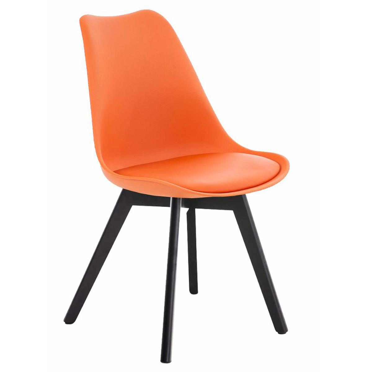 Chaise Design Visiteur BOSPHORE Pietement En Bois Couleur Foncee Structure Plastique Cuir Orange