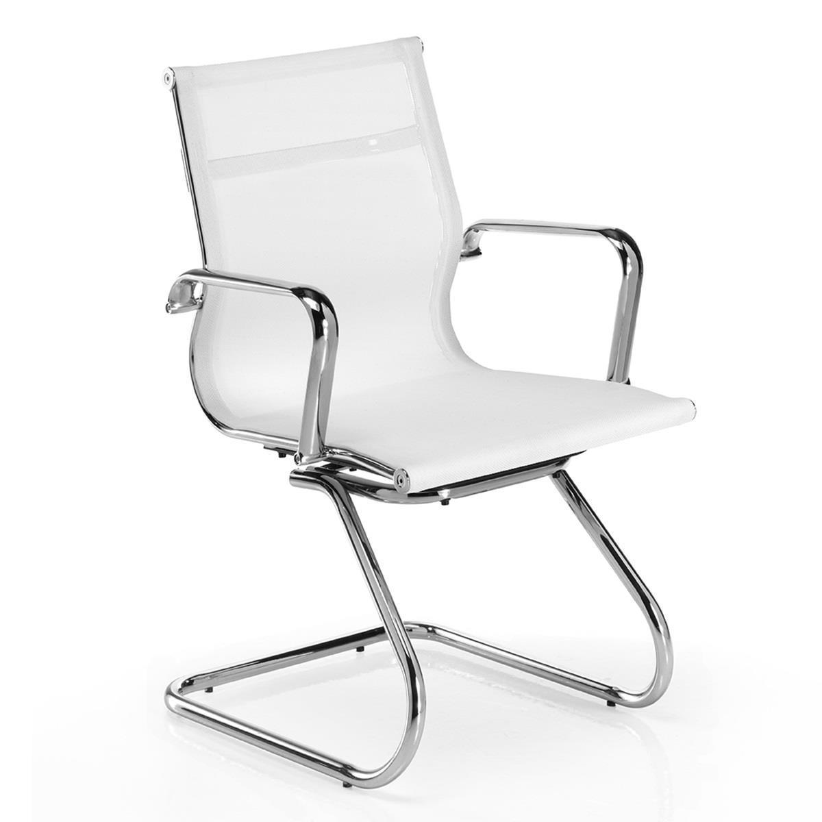 Chaise visiteur domi v structure m tallique chrom e en maille blanc - Chaise metallique design ...