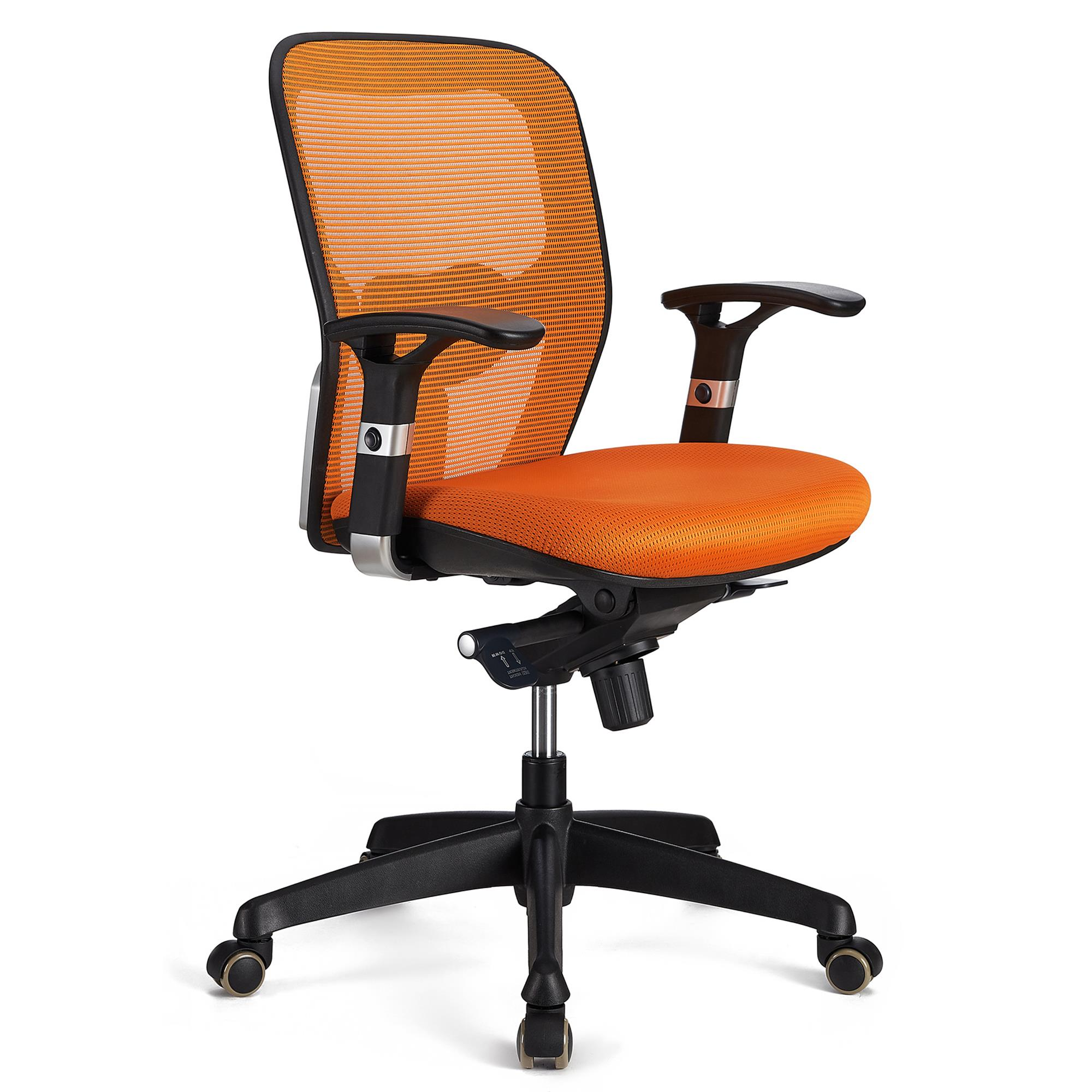 Chaise ergonomique FELIX, Support Lombaire Ajustable, Adapté utilisation 8h, Orange