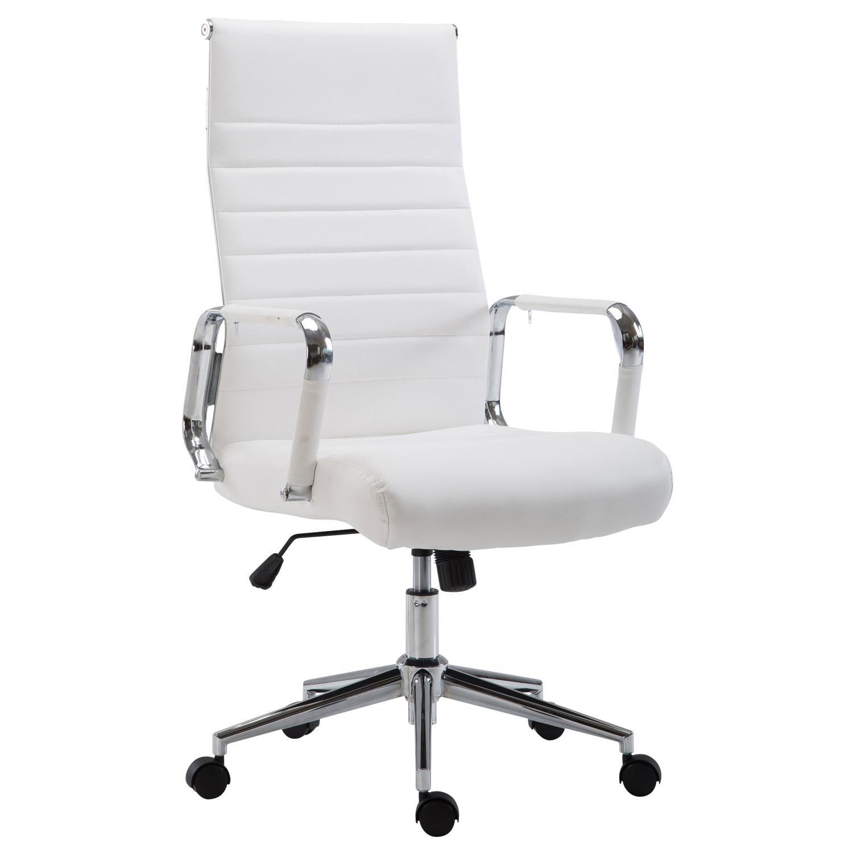 Chaise De Bureau Kolmu Pietement Metallique Design Avec Des Coutures Elegantes Cuir Blanc