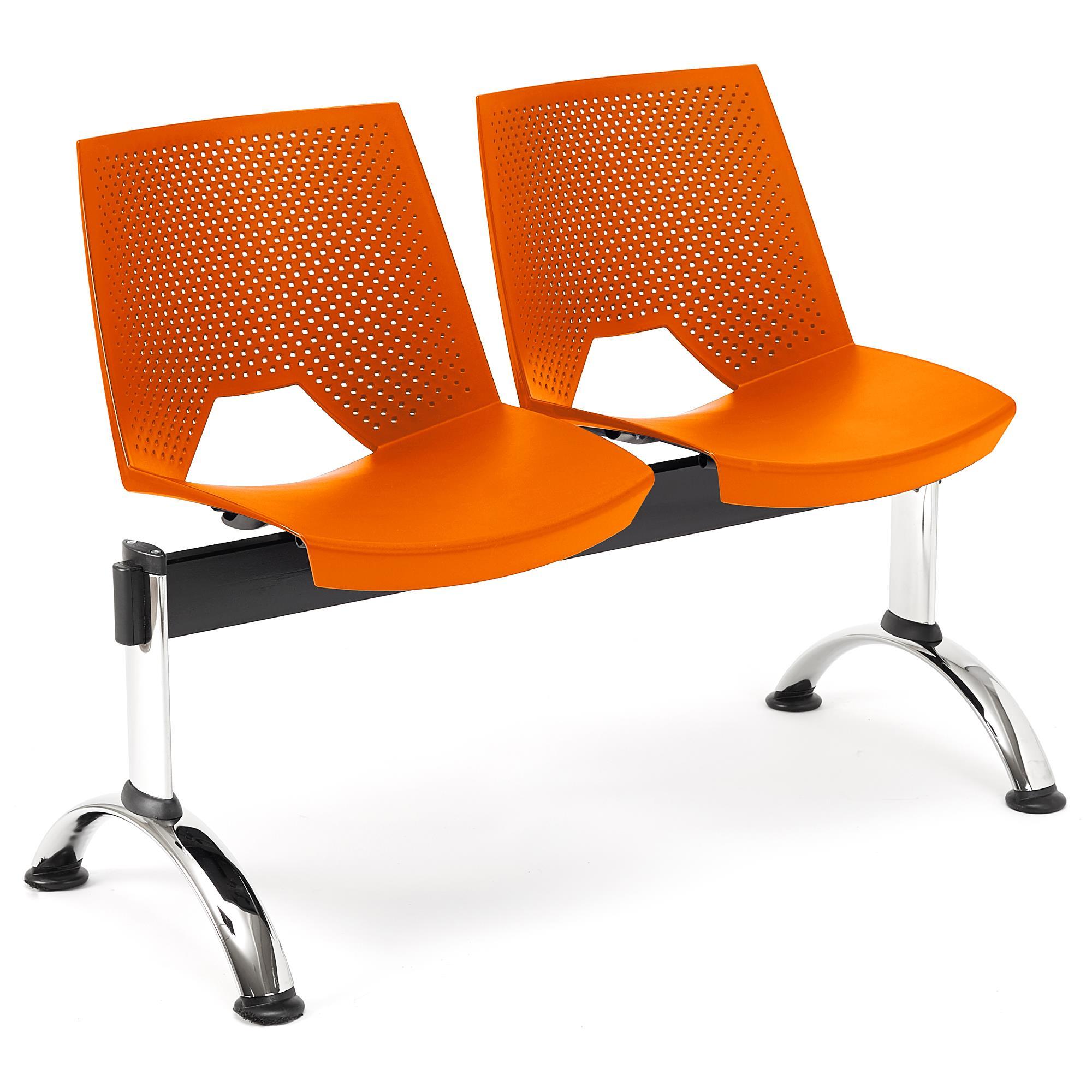 Banc salle d'attente 2 sièges ENZO, orange - Chaisepro.fr