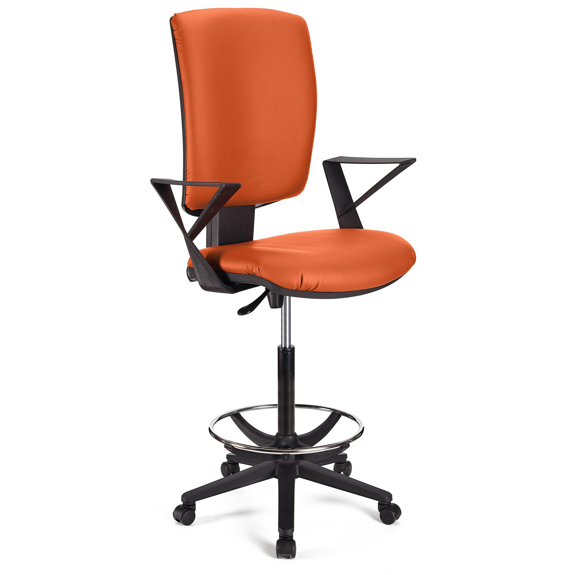 Tabouret de Bureau ATLAS CUIR, Dossier Ajustable, Grand Rembourrage, Orange