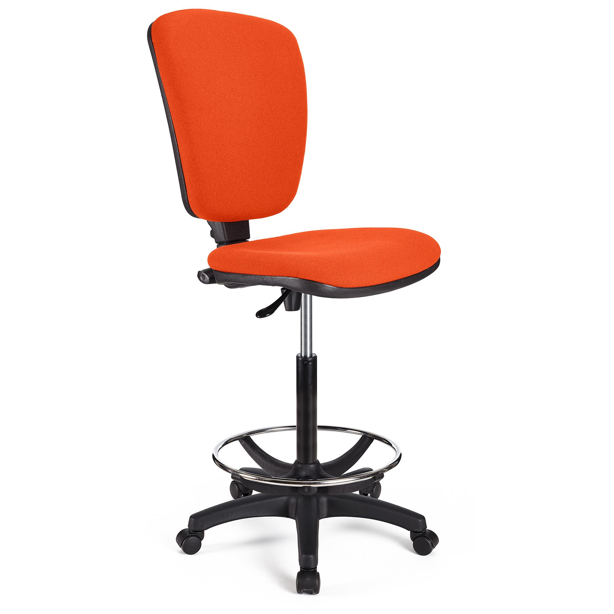Tabouret de Travail CALIPSO SANS ACCOUDOIRS, Dossier Ajustable, Grand Rembourrage, Tissu, Orange