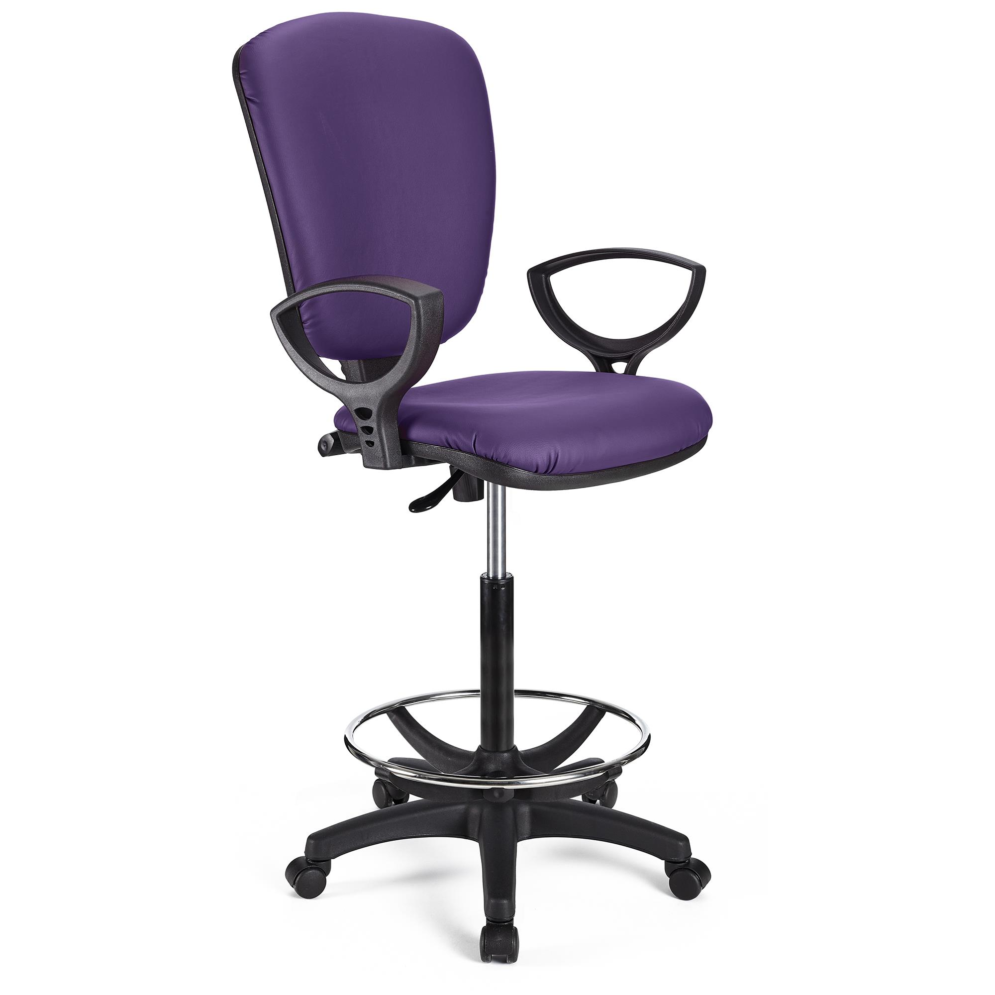 Tabouret de Travail CALIPSO CUIR, Dossier Ajustable, Grand Rembourrage, Violet