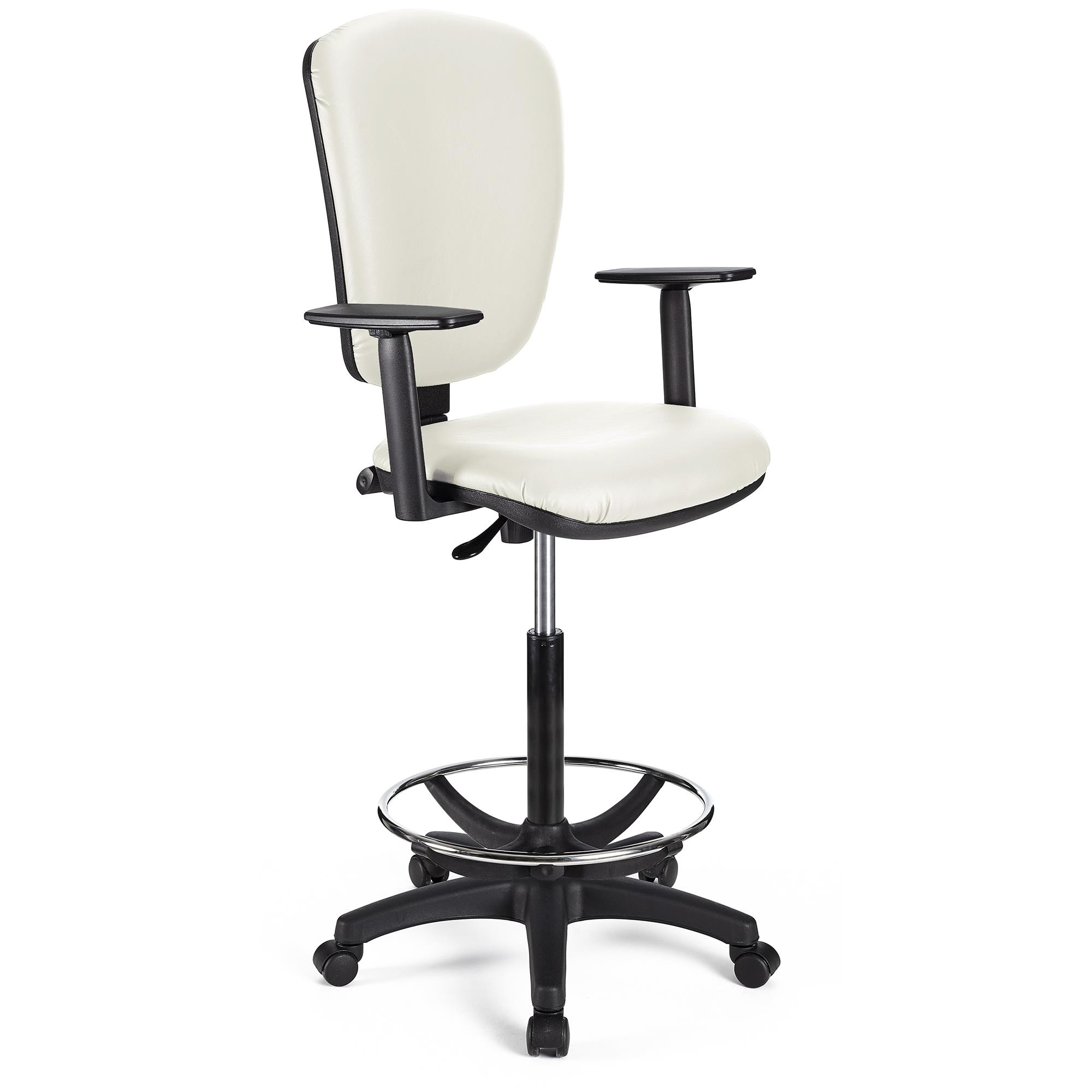 Tabouret de Travail CALIPSO PLUS CUIR, Dossier Ajustable, Grand Rembourrage, Blanc