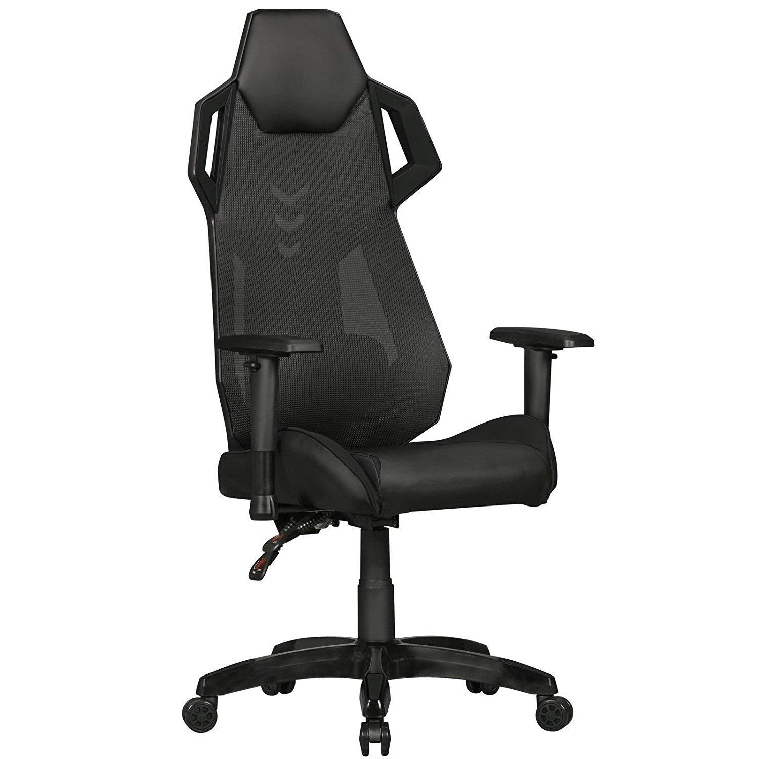 Chaise Gaming GAMEPAK, Ergonomique, Support Lombaire, Cuir et Maille, Noir