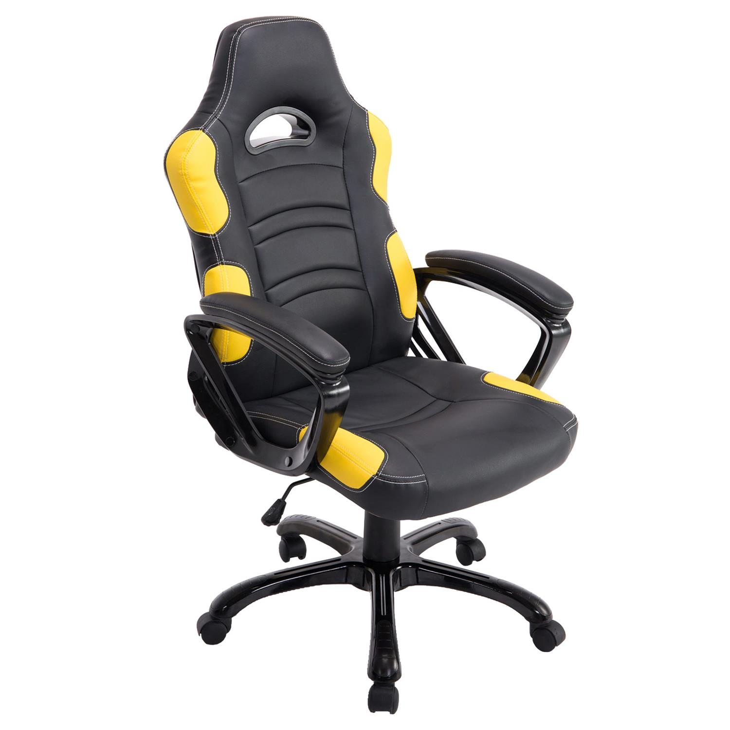 Chaise Gaming AOKI, Inclinable, Design Sportif, en Cuir, de Couleur Noir/Jaune