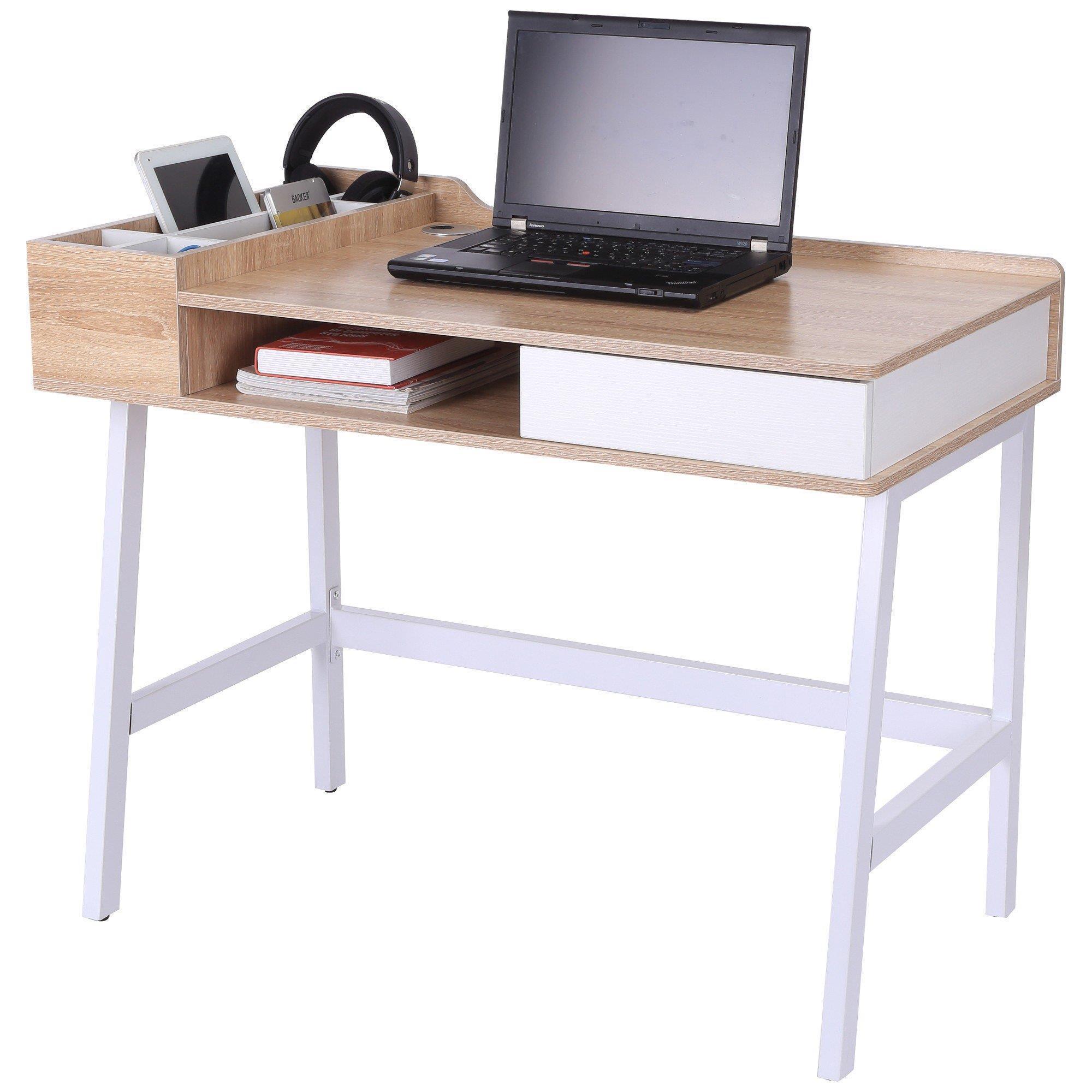 bureau informatique gadea 100x55x81 cm en metal et bois couleur chene blanc