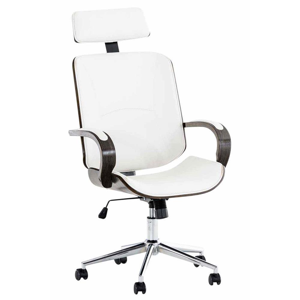 Conception innovante 564fc 1d31f Chaise de bureau JUDITH, Grand rembourrage, Design élégant, en Bois Foncé  et Cuir Blanc