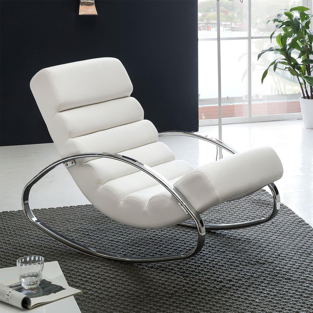 Relax Fauteuil Design.Fauteuil Relax Martina Design Exclusif En Cuir Blanc Chaisepro Fr