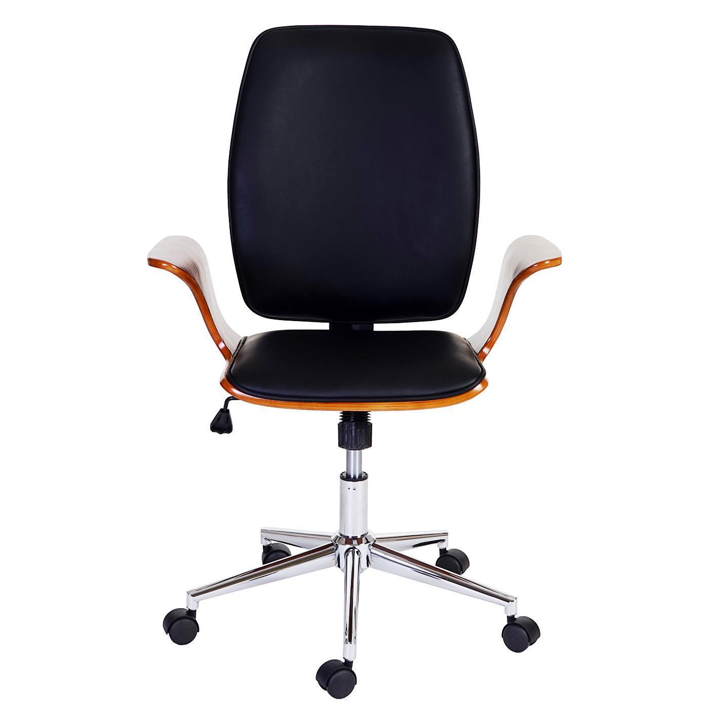 Chaise de Bureau SATURNE, Design Exclusif, Bois et Cuir ...