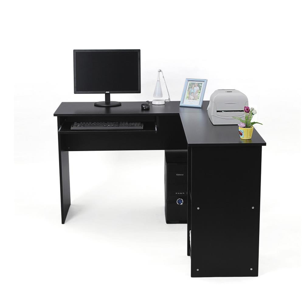 bureau d angle chloe dimensions 140x120x75 cm avec etageres en bois noir