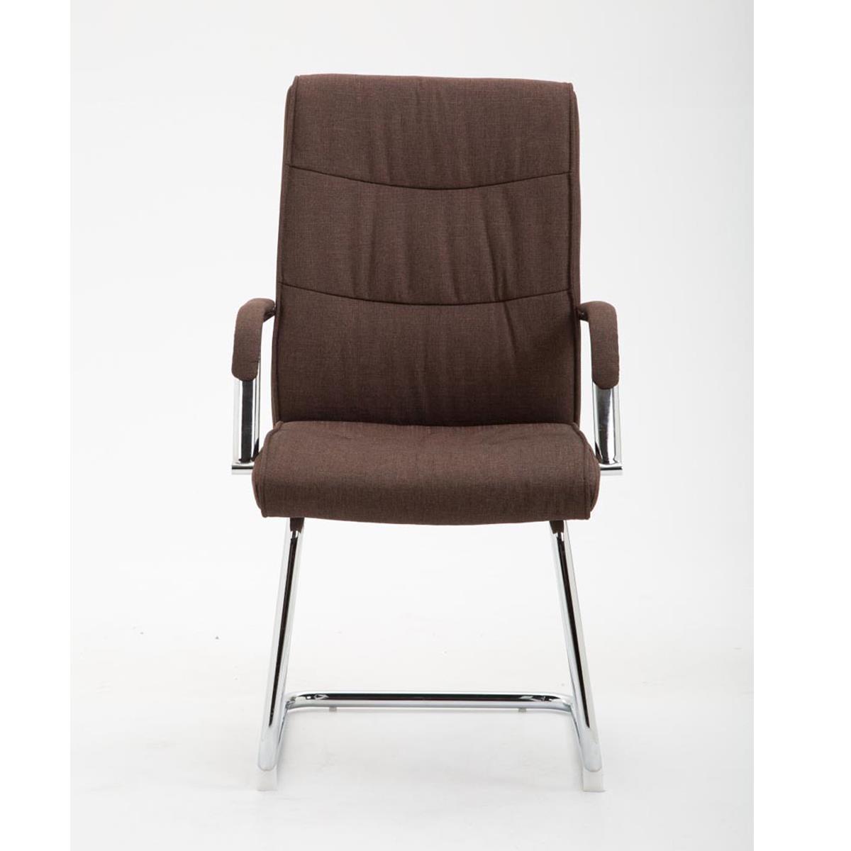 Tissu De La Reunion chaise de réunion elsa tissu, structure métallique, rembourrage Épais, en  tissu marron