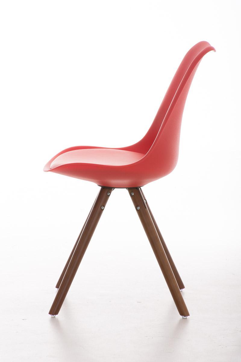 Chaise Design Visiteur ALMA Tres Exclusive Structure En Bois Couleur Noyer Et Cuir Rouge