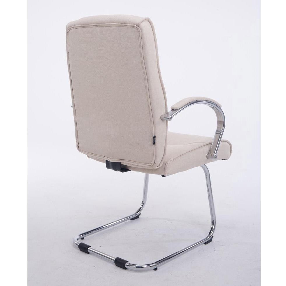 Tissu De La Reunion chaise de réunion borau tissu avec accoudoirs, structure métallique, grand  rembourrage, crème