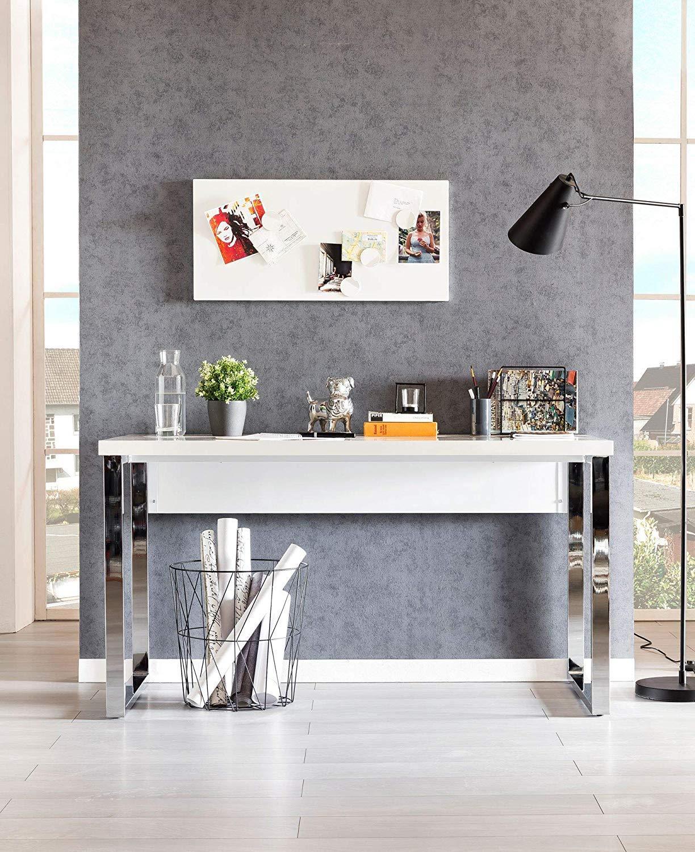 Bureau Plan De Travail bureau anissa, design moderne, dimensions 140x77x70, en bois, blanc