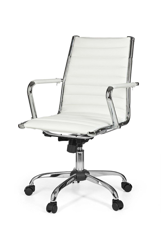 Mengen CouturesBlanc 10Structure Chaise Avec De Bureau MétalliqueCuir DEHY29IW