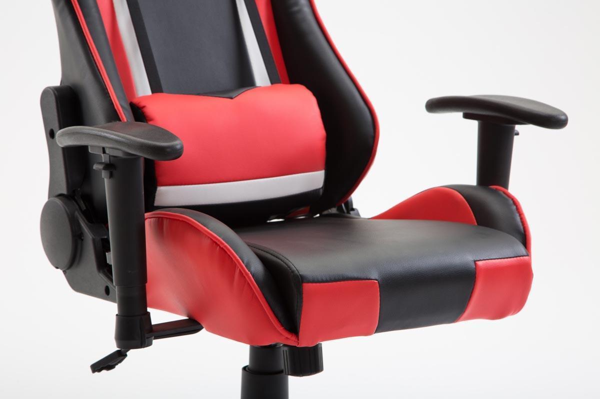 Fauteuil gamer jemex inclinable coussins inclus cuir noir rouge