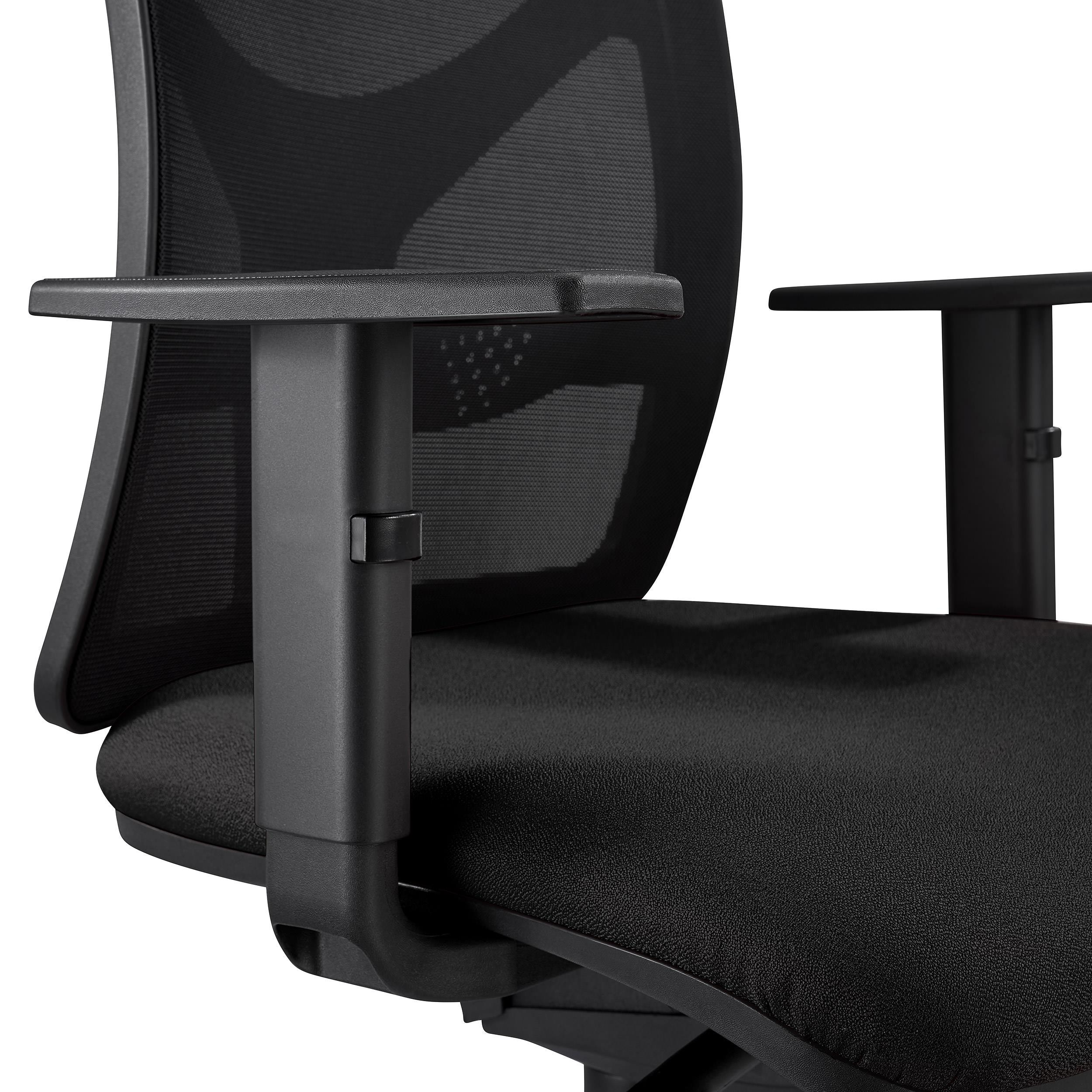 Chaise De Bureau MILO Accoudoirs Ajustables Support Lombaire En Tissu Noir
