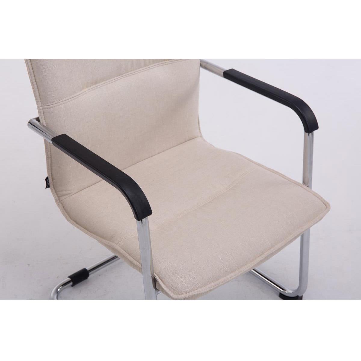 Tissu De La Reunion chaise de réunion goliath tissu, structure métallique, couleur crème