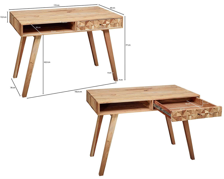 Bureau informatique mina en bois fabriqué main cm