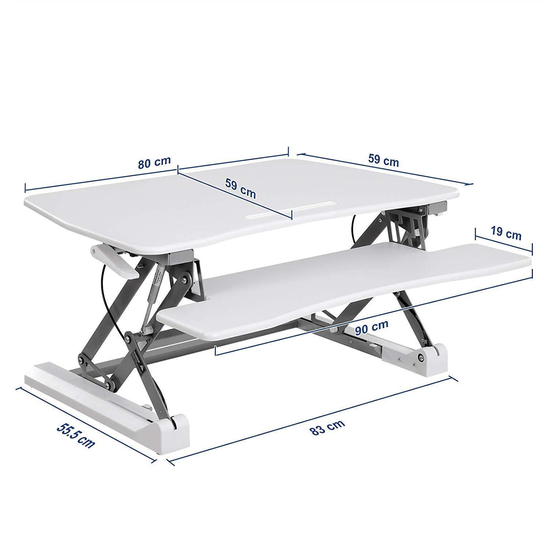 Table de travail celso hauteur ajustable 90x59 cm bois - Table de travail reglable en hauteur ...