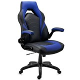 Chaise Gaming NITRO, Grand Rembourrage, Accoudoirs Rabattables, en Cuir, Noir et Bleu