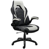 Chaise Gaming NITRO, Grand Rembourrage, Accoudoirs Rabattables, en Cuir, Noir et Blanc