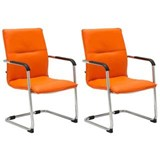 Lot de 2 Chaises de réunion GOLIATH, Structure Métallique, Grand Rembourrage et Design élégant, Cuir Orange