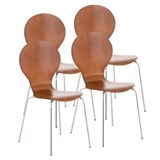 Lot de 4 Chaises visiteur CARVALLO, Structure Métallique, Empilables, Marron Cerisier