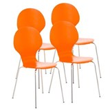 Lot de 4 Chaises visiteur CARVALLO, Structure Métallique, Empilables, Orange