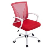 Chaise de bureau CUBA WHITE, Structure Métallique, en Maille Respirable, Rouge