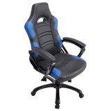 Chaise Gaming AOKI, Inclinable, Design Sportif, en Cuir, de Couleur Noir/Bleu