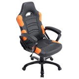 Chaise Gaming AOKI, Inclinable, Design Sportif, en Cuir, de Couleur Noir/Orange