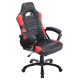 Chaise Gaming AOKI, Inclinable, Design Sportif, en Cuir, de Couleur Noir/Rouge