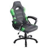 Chaise Gaming AOKI, Inclinable, Design Sportif, en Cuir, de Couleur Noir/Vert