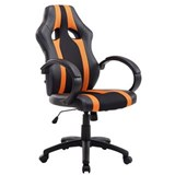 Chaise Gaming KUBICA, Dossier Haut, Grand Rembourrage, en Cuir et Maille, Noir/Orange