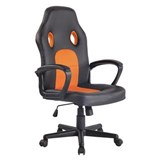 Chaise Gaming XENON, Design Sportif, Confortable, en Cuir, Noir et Orange