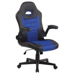 Chaise Gamer LOTUS, accoudoirs relevables, cuir et maille respirable, bleu