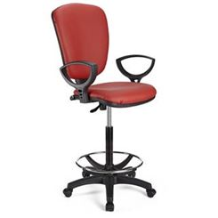 Tabouret de Travail CALIPSO CUIR, Dossier Ajustable, Grand Rembourrage, Rouge